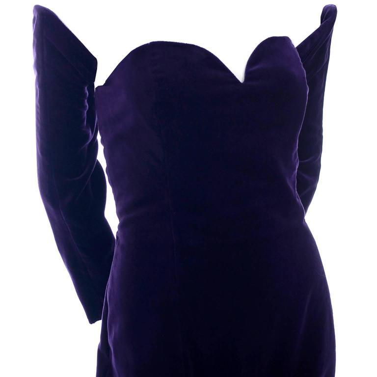 Travilla Purple Velvet Vintage Cocktail Dress Detached Sleeves Opera Gloves 1980 6