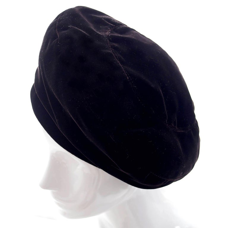 YSL Vintage Hat Yves Saint Laurent Rive Gauche Beret in Chocolate Brown Velvet In Excellent Condition For Sale In Portland, OR
