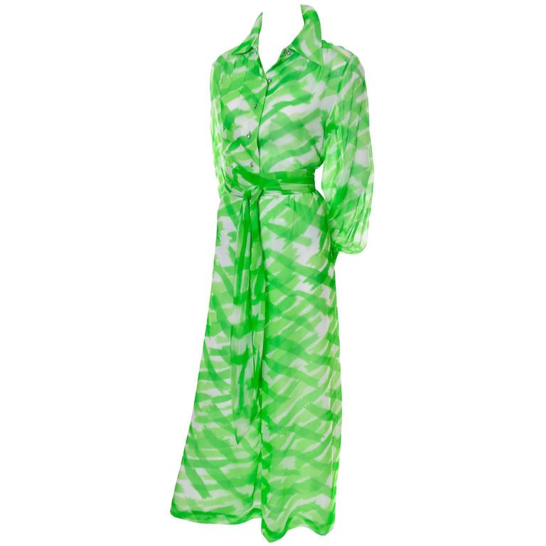 Fred Perlberg Vintage Palazzo Pants & Blouse Outfit in Green Silk Chiffon