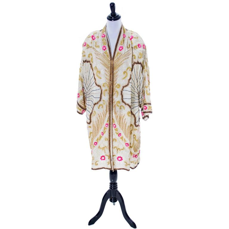 Birjand Gunit Beaded Vintage Evening Coat 1980s Flapper 1920s Style One Size 2