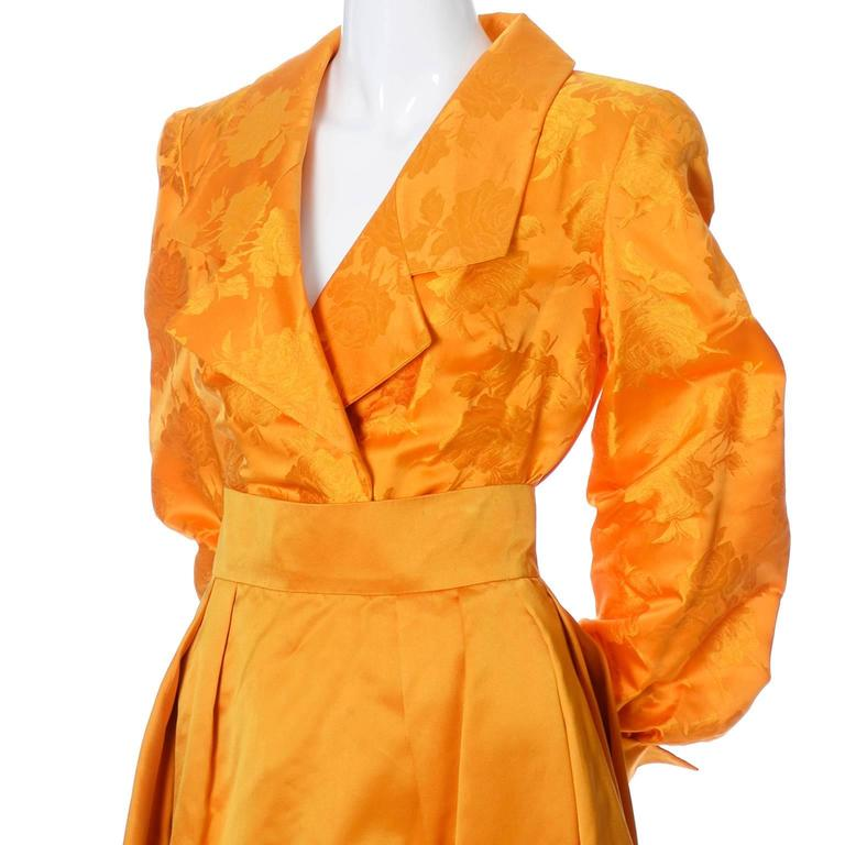 Orange Estevez Couture Vintage Silk Statement Dress 2 Pc Evening Gown 1970s For Sale