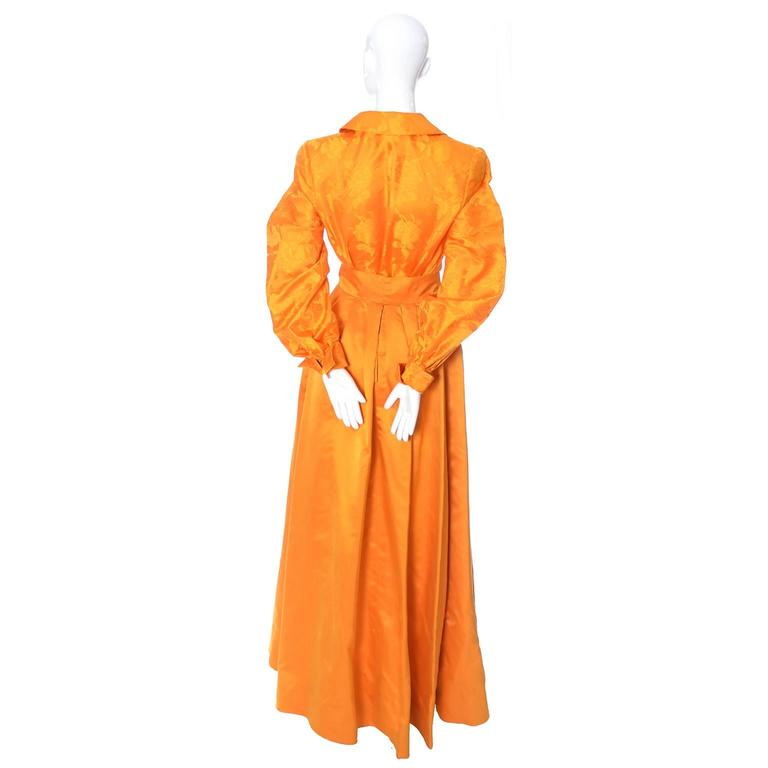 Women's Estevez Couture Vintage Silk Statement Dress 2 Pc Evening Gown 1970s For Sale
