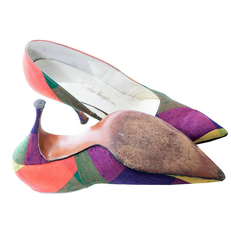 Fontana Roma Vintage Raw Silk Madras Plaid Ladies Shoes 1950s Kitten Heels 7N 3