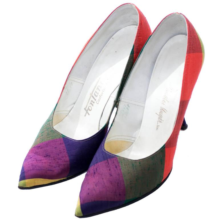 Fontana Roma Vintage Raw Silk Madras Plaid Ladies Shoes 1950s Kitten Heels 7N 2