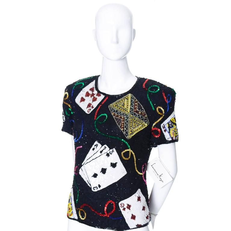 Laurence Kazar Silk Beaded Lawrence Kazar Vintage Top Cards Gambling ...