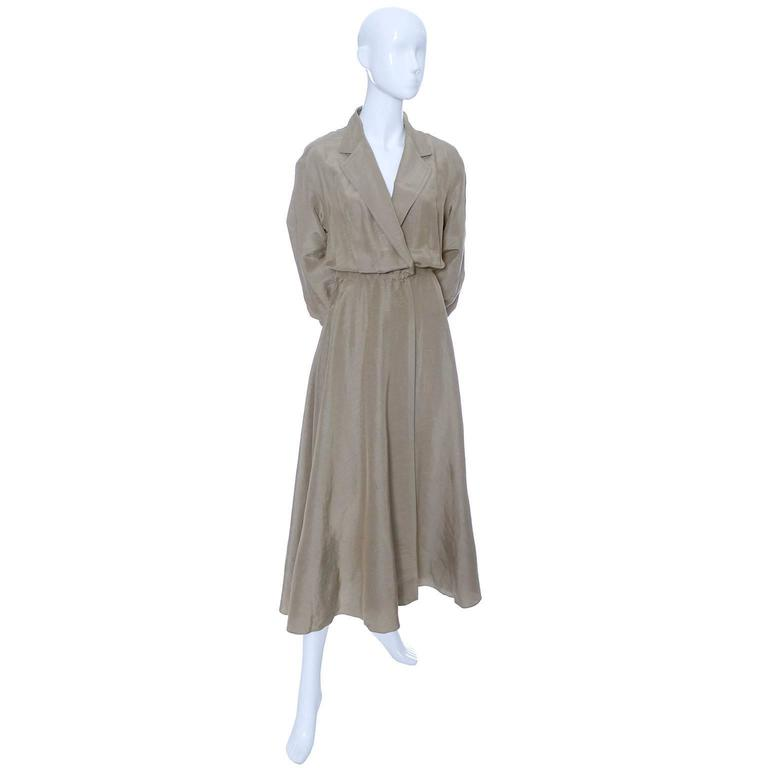 Donna Karan New York Linen Silk Vintage Dress Bronze Taupe Pockets 8 3