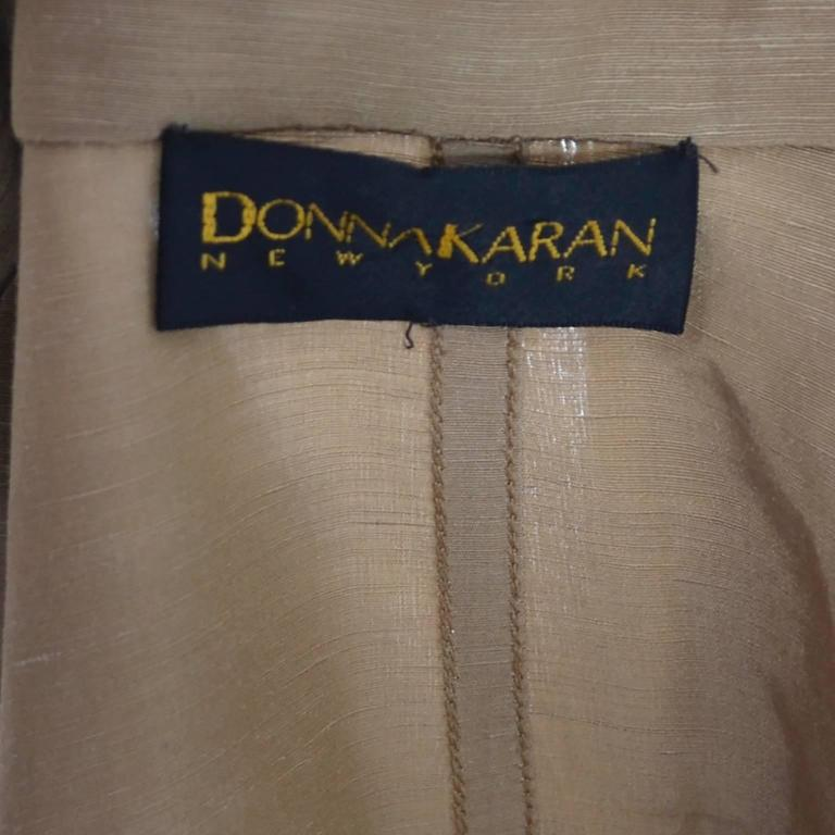 Donna Karan New York Linen Silk Vintage Dress Bronze Taupe Pockets 8 5