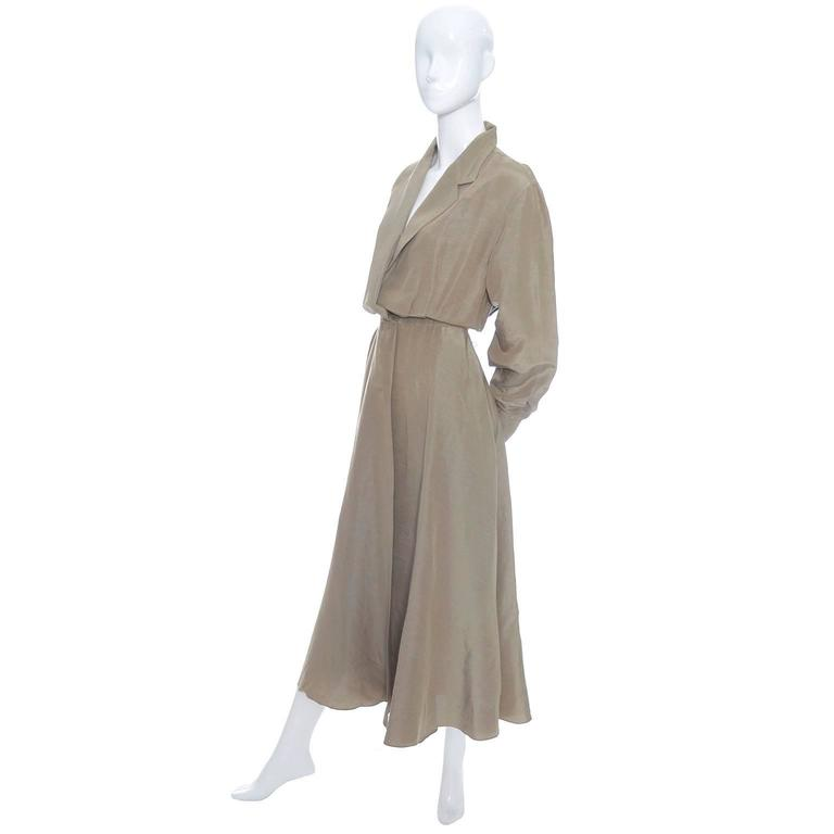 Donna Karan New York Linen Silk Vintage Dress Bronze Taupe Pockets 8 2
