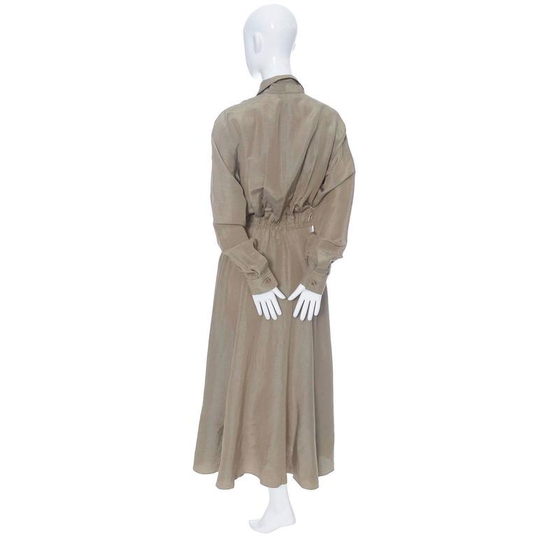 Donna Karan New York Linen Silk Vintage Dress Bronze Taupe Pockets 8 4