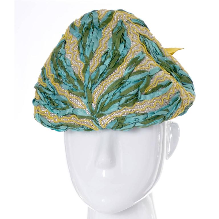 Lilly dache dachettes vintage hat ribbon embroidery woven