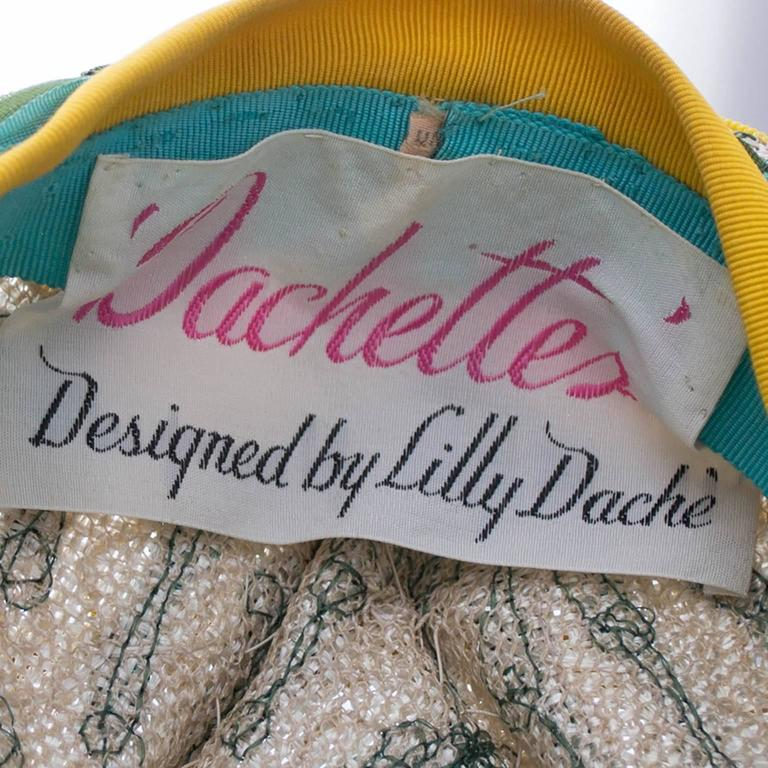 Lilly Dache Dachettes Vintage Hat Ribbon Embroidery Woven Mid Century 4