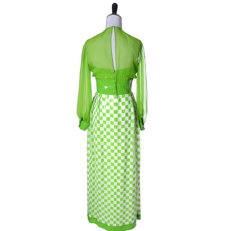Green Adele Simpson Silk Dead Stock Vintage Dress 1960's Sequins New With Tags For Sale