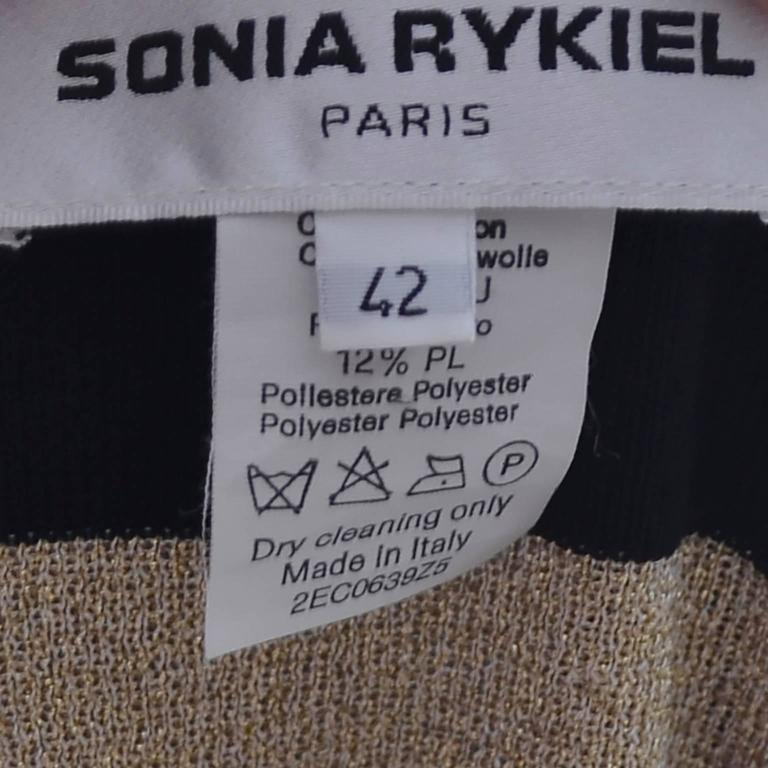 Sonia Rykiel Vintage Sweater Top Gold Sparkle Stripes Made in Italy 4
