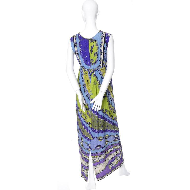 Women's 1960s Vintage Emilio Pucci Crinkle Silk Dress Signature Pop Art Mod Fabric For Sale