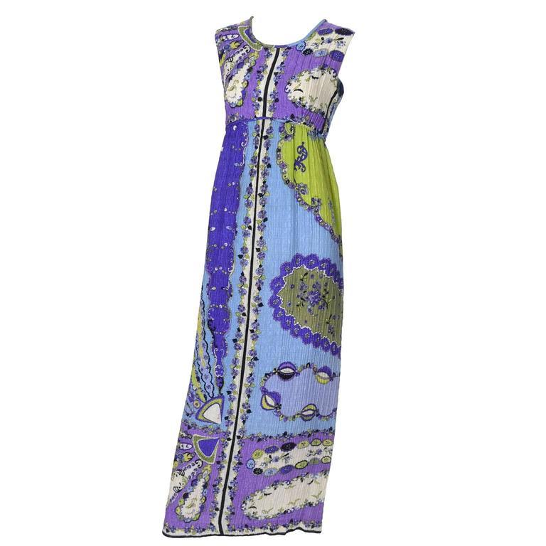 1960s Vintage Emilio Pucci Crinkle Silk Dress Signature Pop Art Mod Fabric For Sale