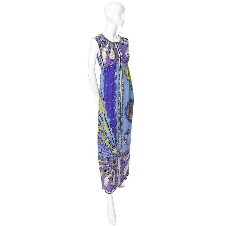 Gray 1960s Vintage Emilio Pucci Crinkle Silk Dress Signature Pop Art Mod Fabric For Sale