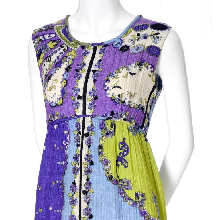1960s Vintage Emilio Pucci Crinkle Silk Dress Signature Pop Art Mod Fabric For Sale 2