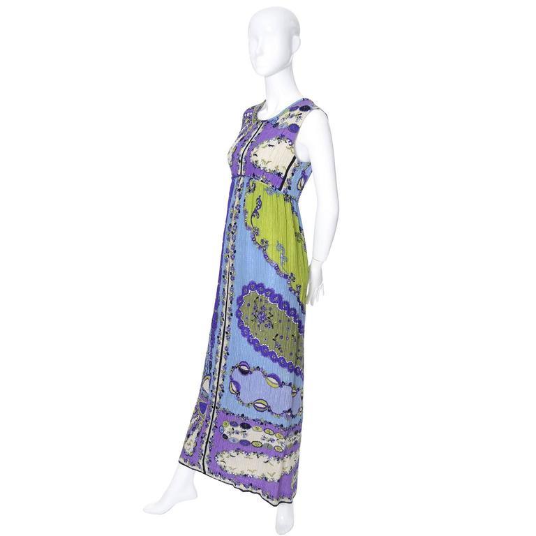 1960s Vintage Emilio Pucci Crinkle Silk Dress Signature Pop Art Mod Fabric For Sale 1