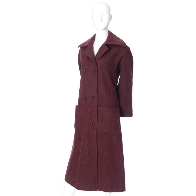Givenchy Nouvelle Boutique 1970s Vintage Givenchy Coat Burgundy Alpaca Wool  In Excellent Condition For Sale In Portland, OR