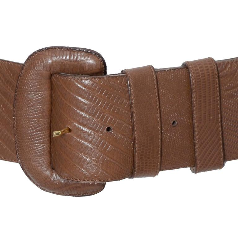 Brown 1980s Vintage Donna Karan Belt Reptile Embossed Leather Medium Italy For Sale