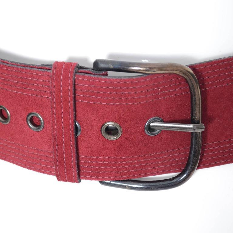 Vintage YSL belt Yves Saint Laurent Burgundy Suede Size Medium  2