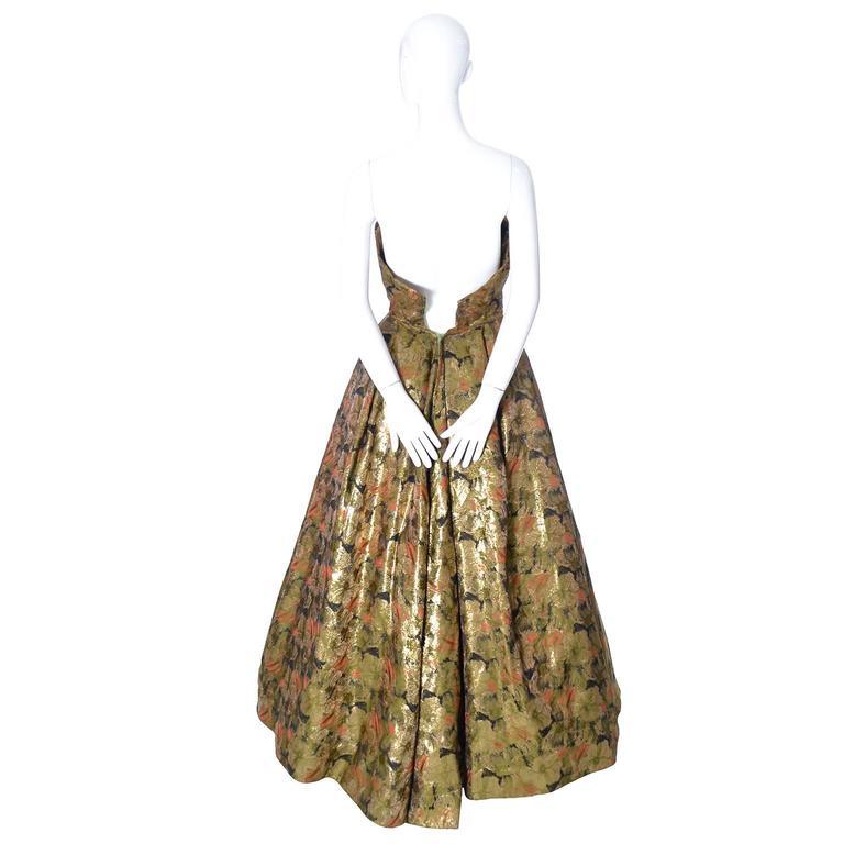 Michael Novarese 1960s Vintage Gold Metallic Audrey Hepburn Evening gown Dress  5