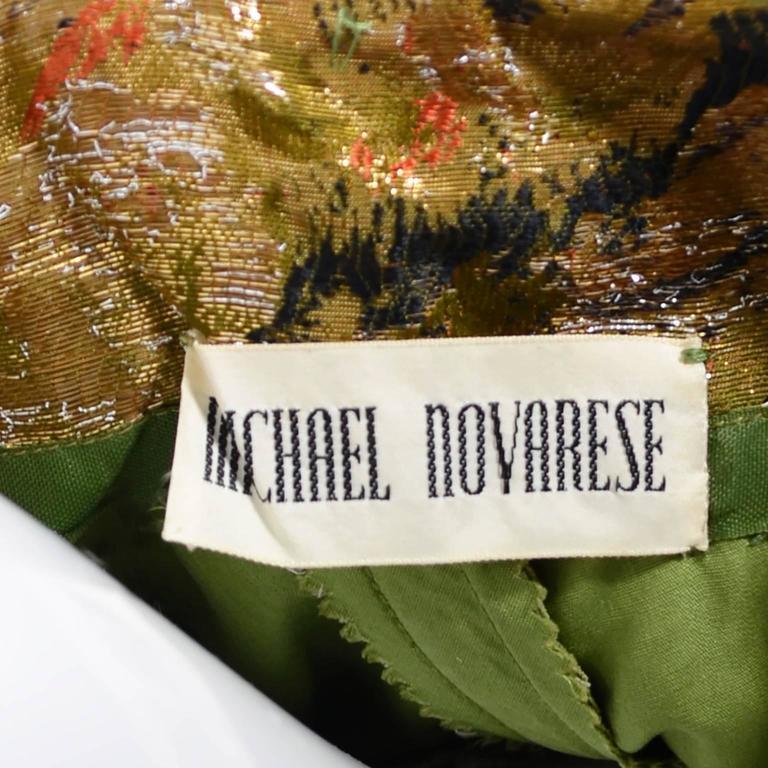 Michael Novarese 1960s Vintage Gold Metallic Audrey Hepburn Evening gown Dress  6