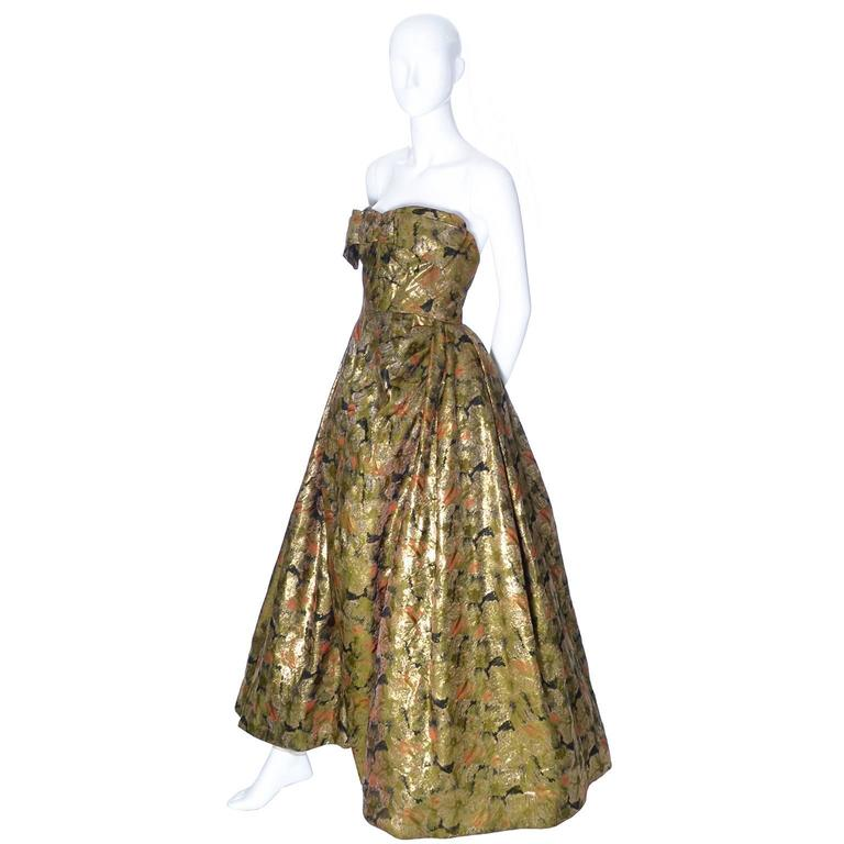 Michael Novarese 1960s Vintage Gold Metallic Audrey Hepburn Evening gown Dress  3