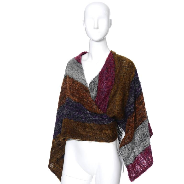 Nikos Hand Woven Wool 3 Piece Set With Wrap / Sweater Scarf & Handbag In Excellent Condition For Sale In Portland, OR