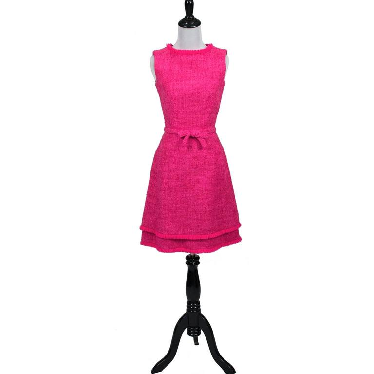 Lanz Original Vintage Dress 1960s Hot Pink Tweed Sleeveless Fringe In Excellent Condition For Sale In Portland, OR