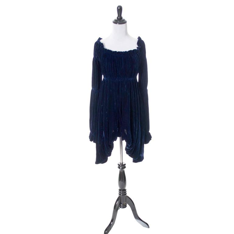 Vintage Norma Kamali 80s Avant Garde Blue Velvet Dress Poet Sleeves  2