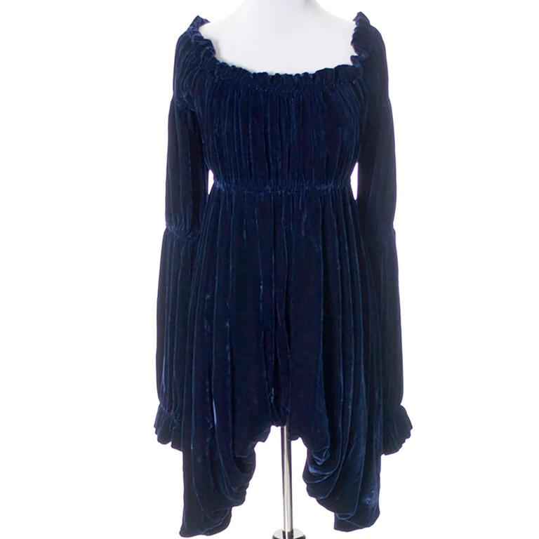 Vintage Norma Kamali 80s Avant Garde Blue Velvet Dress Poet Sleeves  5
