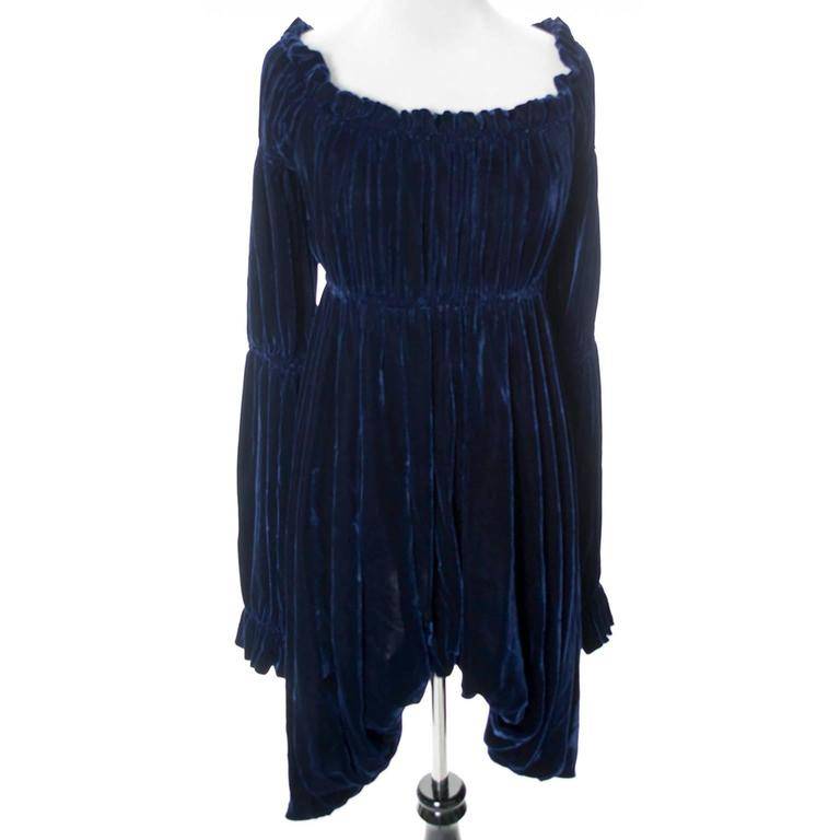 Vintage Norma Kamali 80s Avant Garde Blue Velvet Dress Poet Sleeves  4