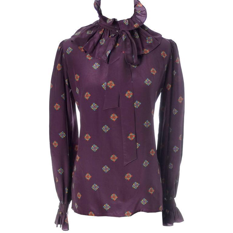 Black YSL Vintage Silk Blouse W Ruffle Bow & Sash Yves Saint Laurent Rive Gauche 1970s For Sale