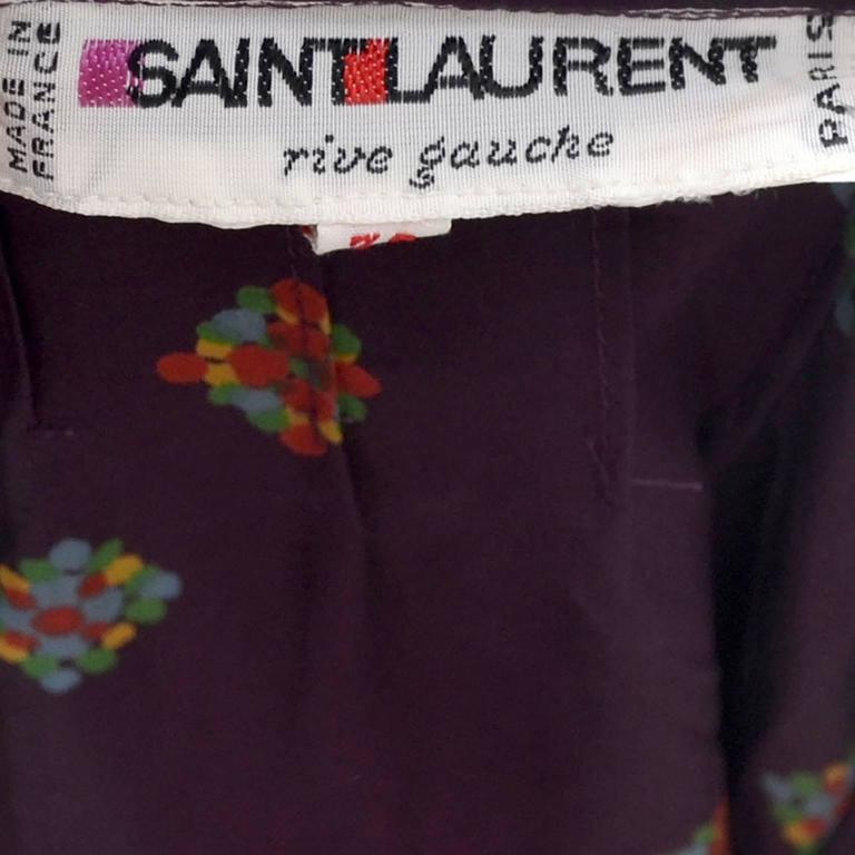 YSL Vintage Silk Blouse W Ruffle Bow & Sash Yves Saint Laurent Rive Gauche 1970s In Excellent Condition For Sale In Portland, OR