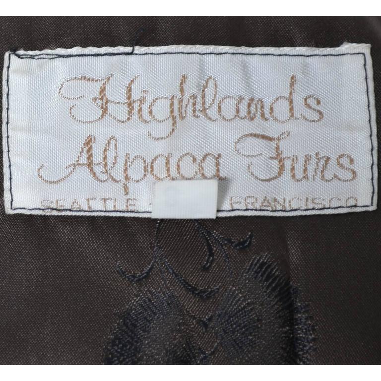 Vintage 1970s Alpaca Fur Vest Highlands Alpaca Furs Lined 5