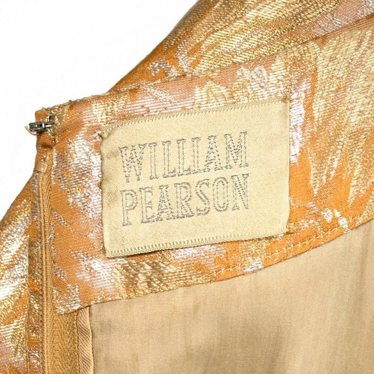 1950s William Pearson Vintage Dress Floral Metallic Gold Lame Brocade Full Skirt 6