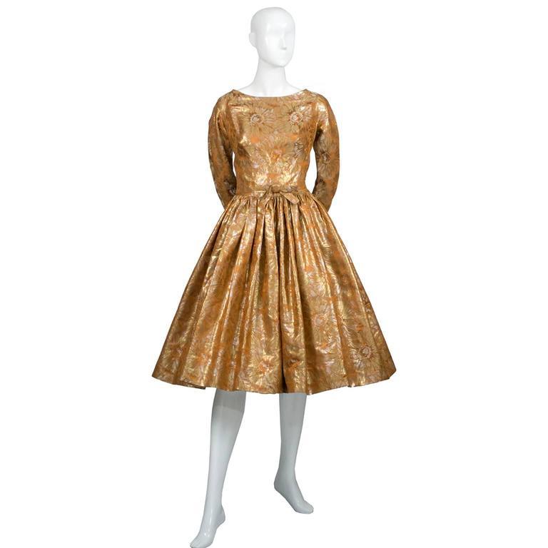 1950s William Pearson Vintage Dress Floral Metallic Gold Lame Brocade Full Skirt 2