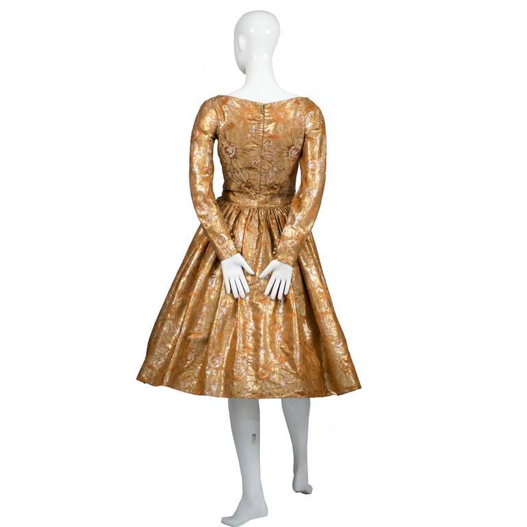 1950s William Pearson Vintage Dress Floral Metallic Gold Lame Brocade Full Skirt 3