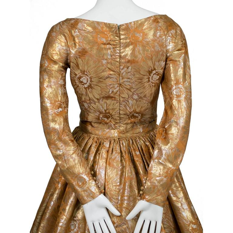 1950s William Pearson Vintage Dress Floral Metallic Gold Lame Brocade Full Skirt 4