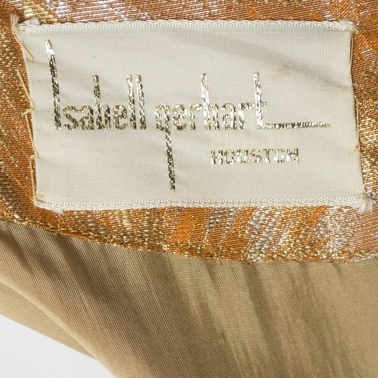 1950s William Pearson Vintage Dress Floral Metallic Gold Lame Brocade Full Skirt 7