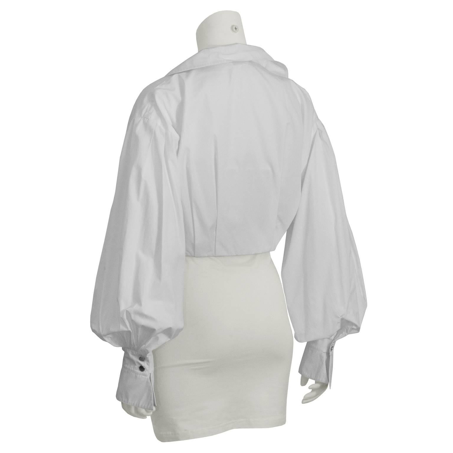 1980 s Montana White Cropped Tie-up Blouse at 1stdibs b061b66c5