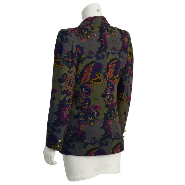 Black 1980's Ungaro Khaki Floral Blazer For Sale