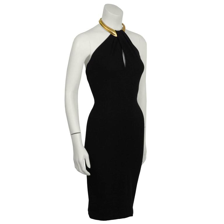 Early 1990's Donna Karan Black Halter Dress with Gold Choker 2