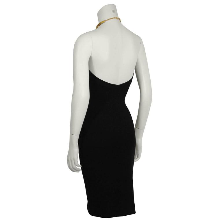 Early 1990's Donna Karan Black Halter Dress with Gold Choker 3