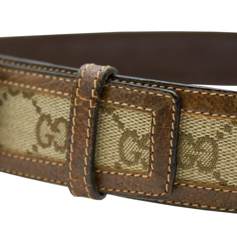 Black 1970s Gucci Monogram Belt  For Sale