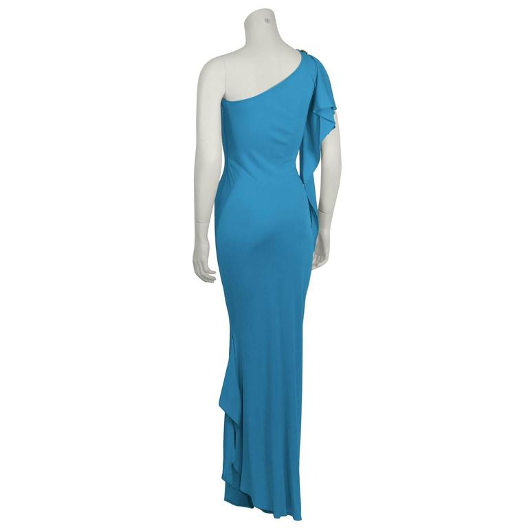 2000s Blue Marc Bouwer One Shoulder Gown  In Excellent Condition For Sale In Toronto, CA