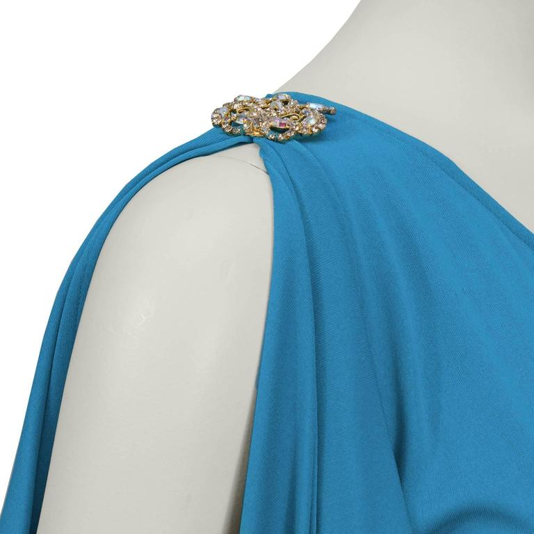 2000s Blue Marc Bouwer One Shoulder Gown  For Sale 1