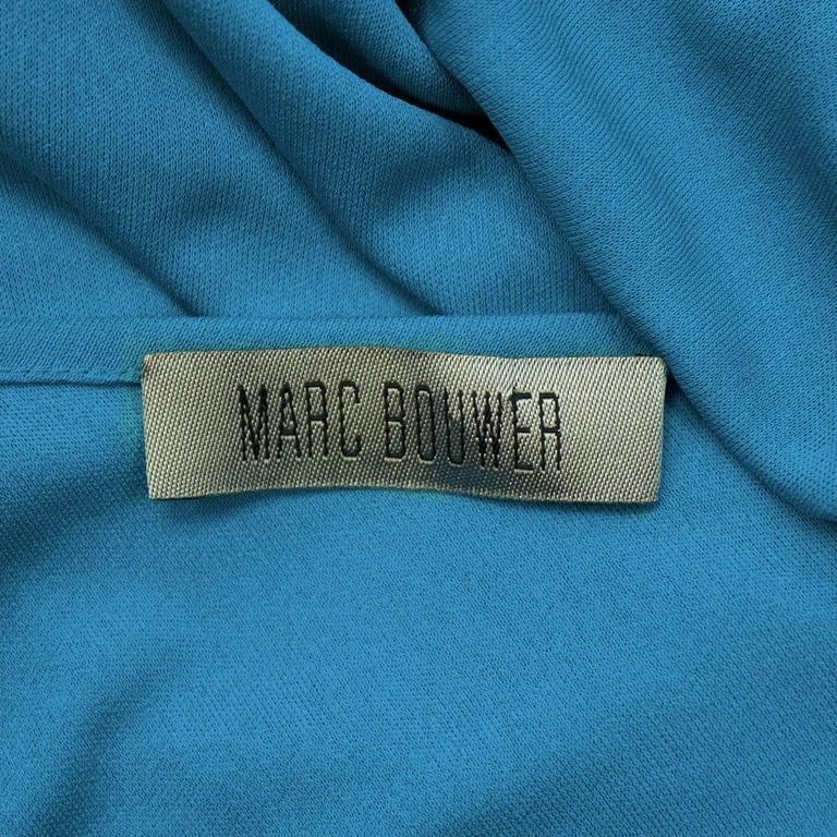 2000s Blue Marc Bouwer One Shoulder Gown  For Sale 2