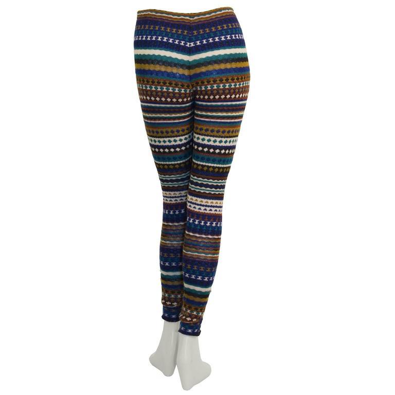 Black 1980's Missoni Blue  and Olive Knit Striped Legging For Sale